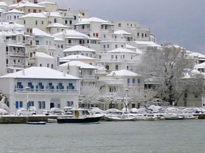 "Snow on Skopelos Aegean Greek island of ""Mama Mia"" fame."