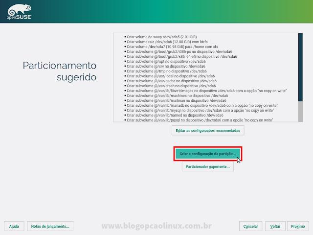 Esquema de particionamento sugerido pelo instalador do openSUSE