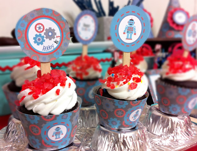 cupcake toppers, boy  robot party, little inventor birthday, printable cupcake topper