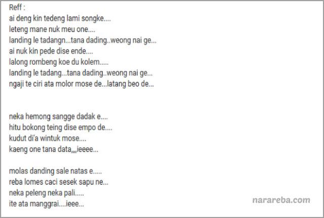 "Lirik lagu ""Ite Manggarai"" versi Youtube"