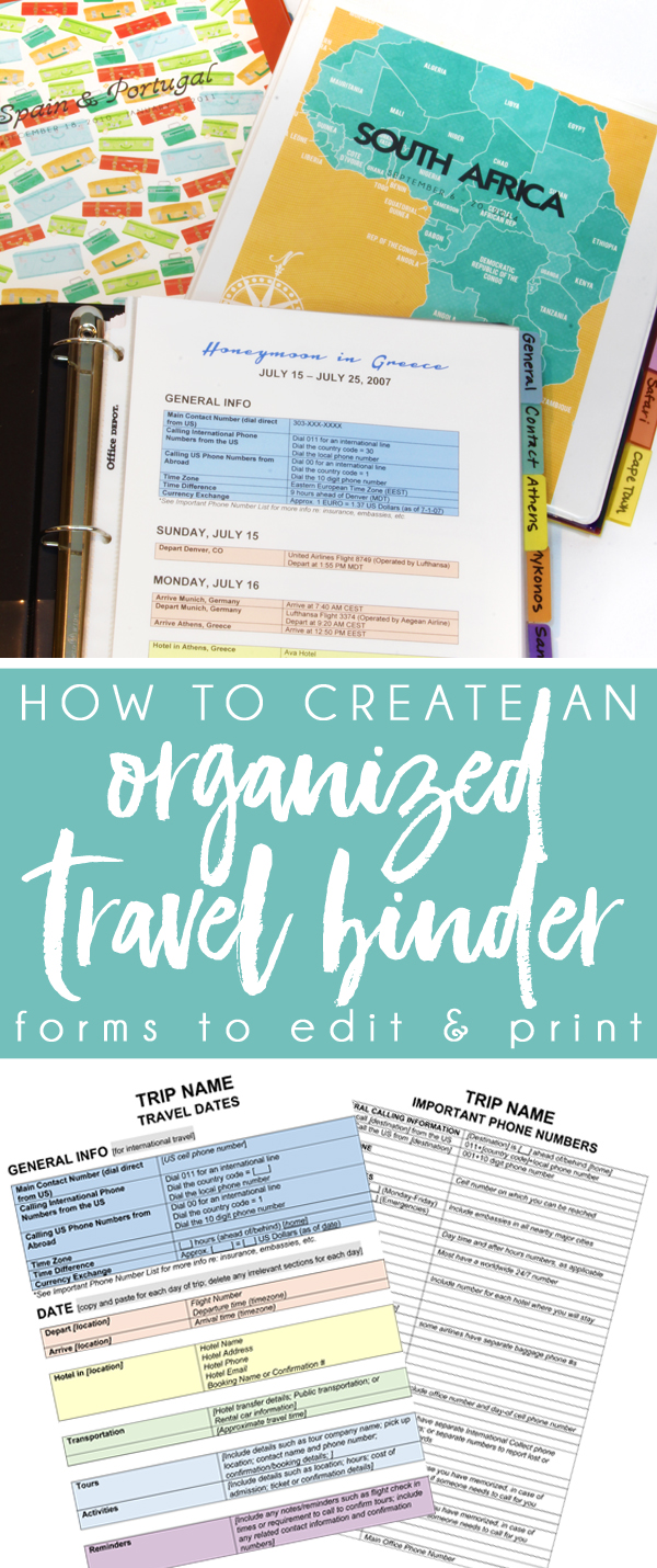 organized travel planning printables