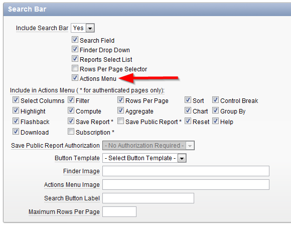 Notes on Oracle: APEX: Show Actions menu with Authorization