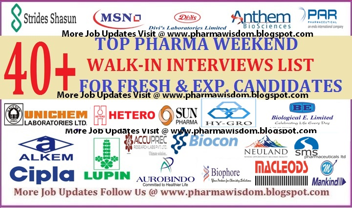 Top Weekend Walk-Ins List for Freshers & Experienced on 17th Nov
