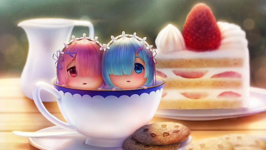Chibi, Anime, Cake, Girls, Ram, Rem, Re:Zero, 4K, #4.2673