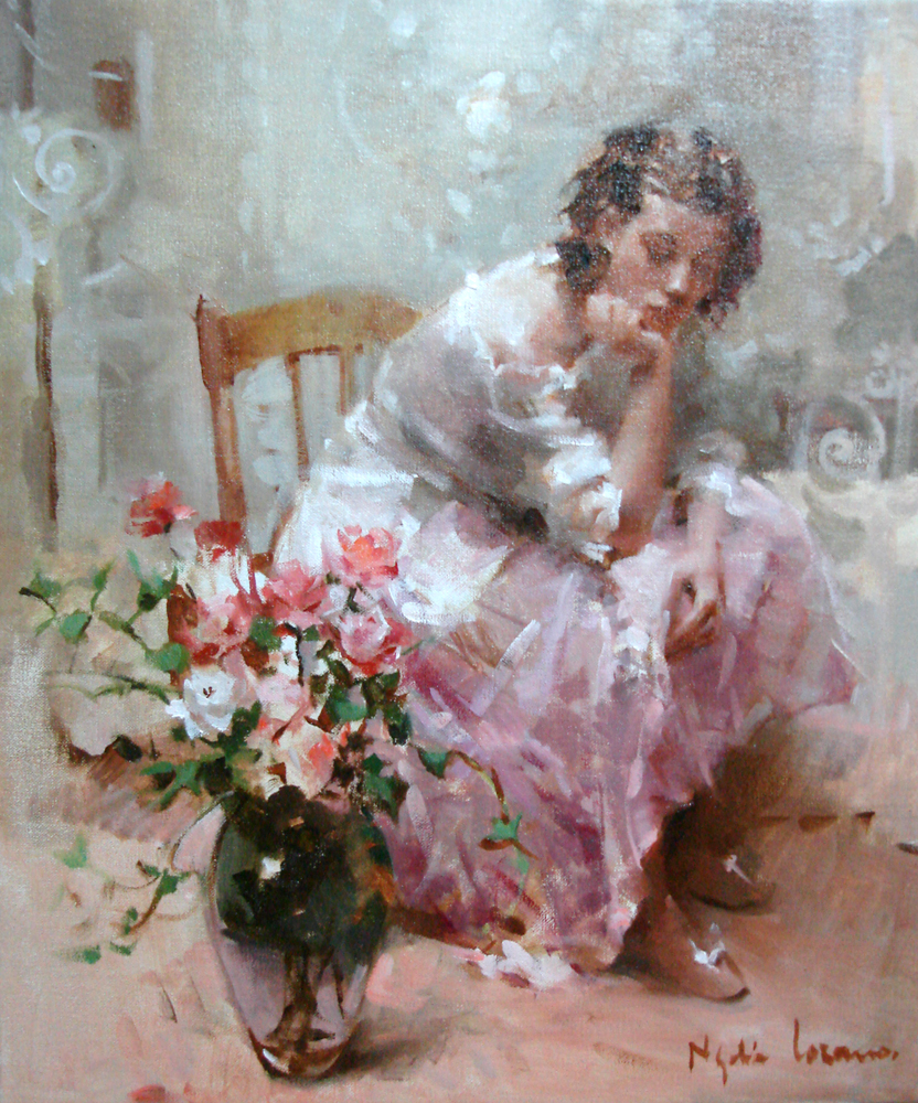 Nydia Lozano 1947 | Spanish Impressionist Figurative painter | Ladies with flowers