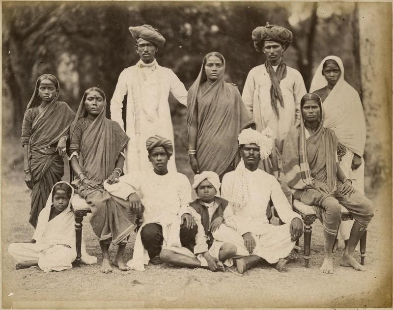 Family Photograph of a Maharatta Family from Bombay (Mumbai) by the Taurines Studio - 1880's