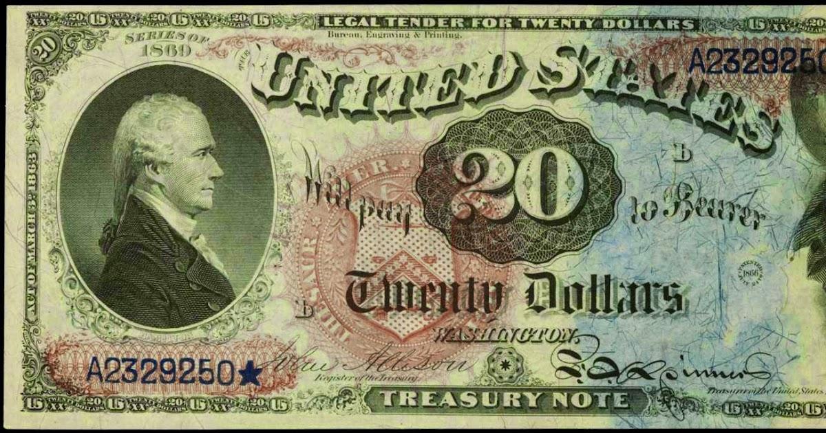 1869 Twenty Dollar Legal Tender Note Rainbow Note World