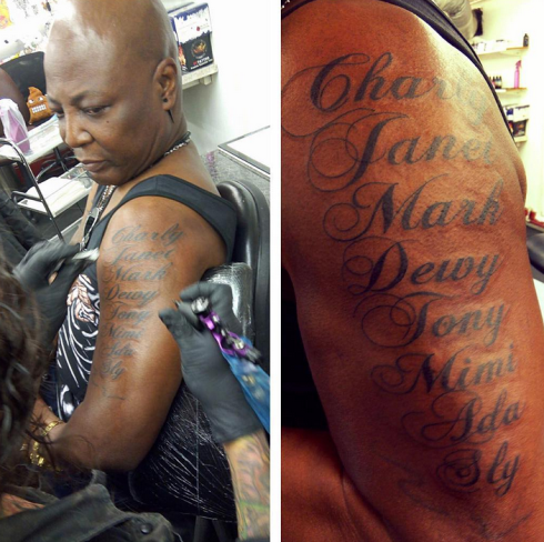Charly Boy Tattoos The Name Of All His Children On His Arm And