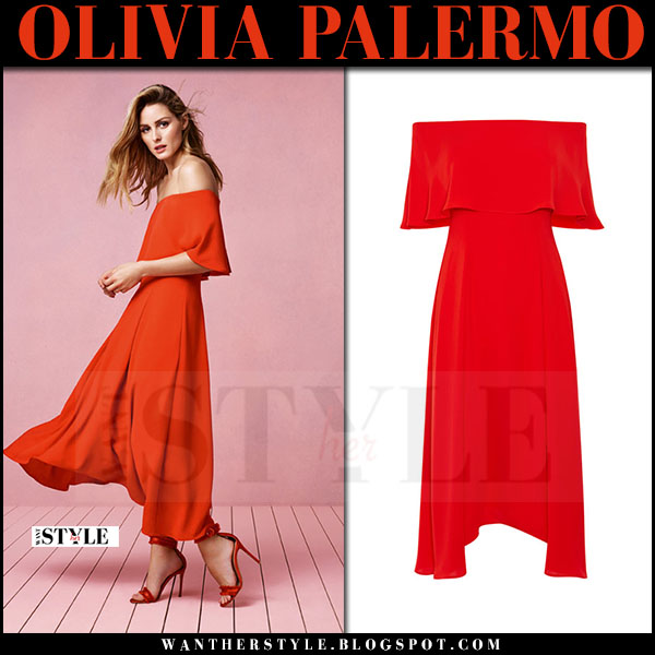 Olivia Palermo in red off shoulder maxi dress Coast SS17 what she wore spring summer style