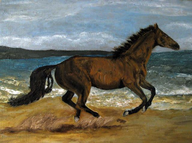 Конь, бегущий по песку у моря