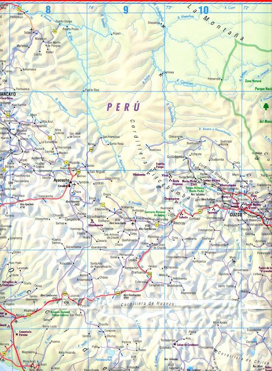 Mapa rodoviário da região de Cusco - Peru