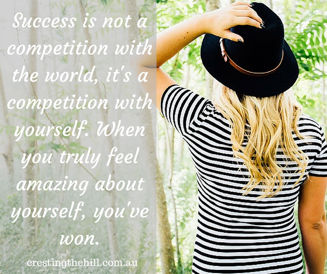 Success is not a competition with the world, it's a competition with yourself. When you truly feel amazing about yourself, you've won.