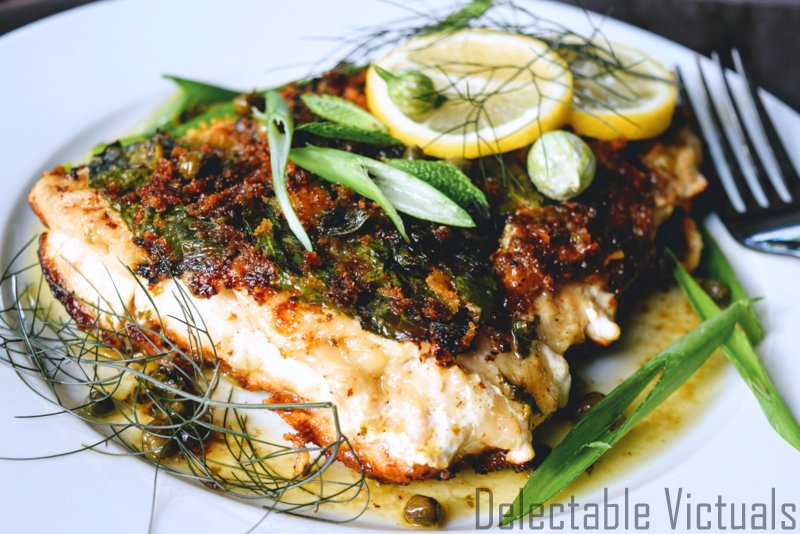 Lingcod Fish Encrusted with Mint, Fennel, and Lemon