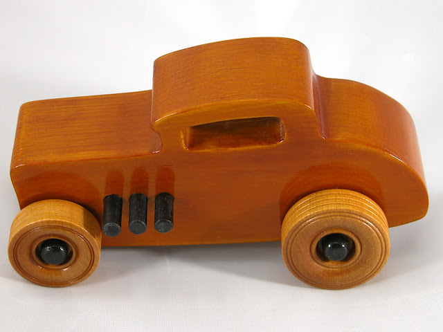 Top Left Side - Wood Toy Cars - Wooden Cars - Wood Toys - Wooden Car - Wood Toy Car - Hot Rod - 1932 Ford - 32 Deuce Coupe - Little Deuce Coupe - Roadster - Race Car