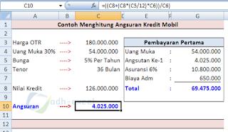 rumus excel untuk menghitung angsuran kredit kendaraan