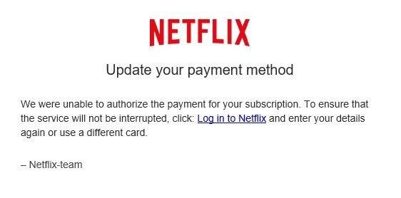 Netflix Phishing email example