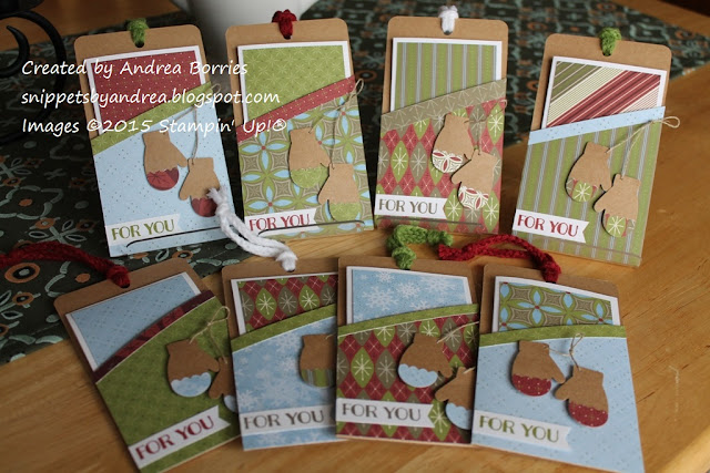 Christmas gift card holders and cards made with the April 2015 Paper Pumpkin kit, Love You a Lot, and other supplies.
