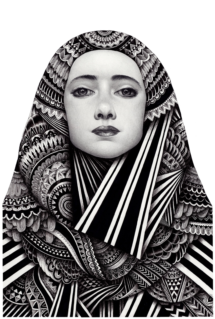 12-Woman-In-The-Robe-Iain-Macarthur-Pencil-Watercolours-and-Pens-in-Complex-Ink-Portraits-www-designstack-co