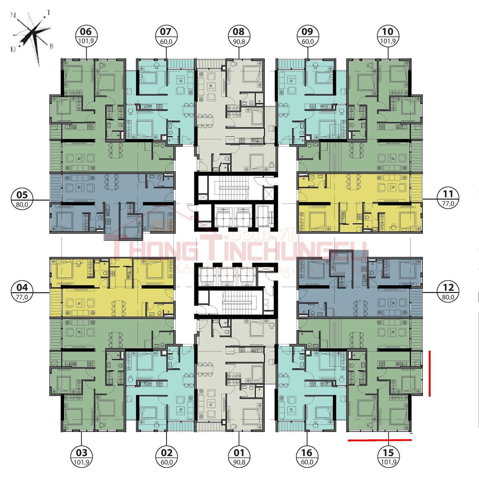 Mặt bằng điển hình tầng 7, 8, 9 - Tòa Autumn GoldSeason