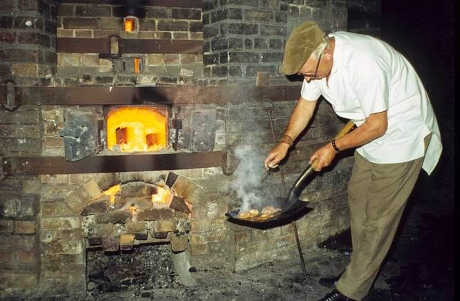 A potter's breakfast at the Last Bottle Oven Firing in Longton in 1978
