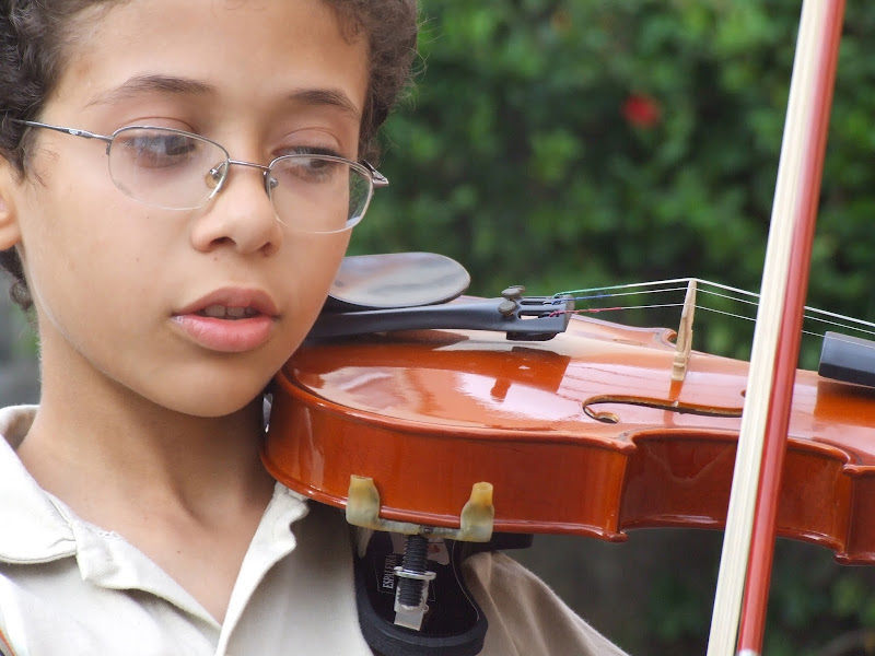 NAMC montessori environment supports children with Sensory Issues boy playing violin
