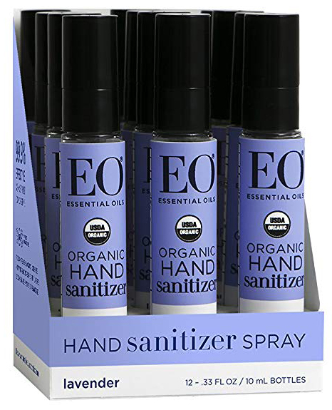 EO organic hand sanitizer spray - an alcohol and essential oils based hand sanitizer that is free of triclosan