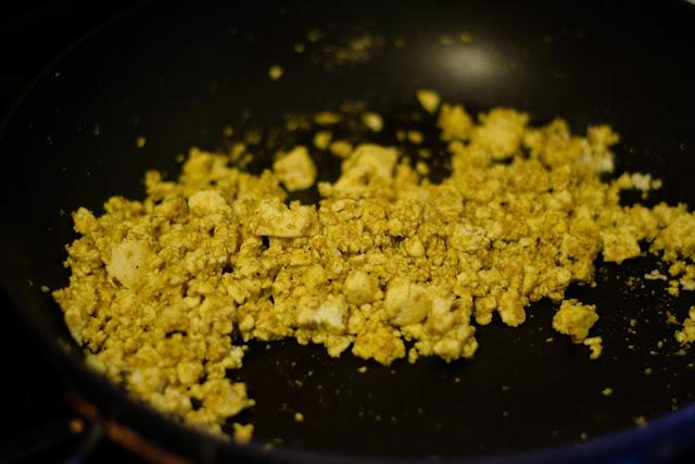 The tofu scramble cooking in the pan.