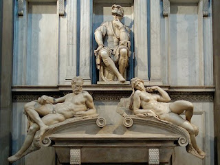 Michelangelo designed his sculpture Pensieroso as a monument  for Lorenzo II's tomb at the Basilica of San Lorenzo