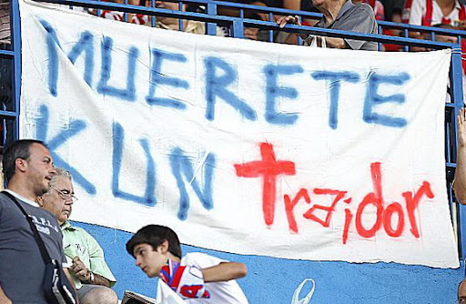 Atlético Madrid fans unfurl an anti-Sergio Agüero banner at a Europa League qualifier match