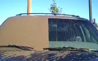 Fotografia de um parabrisa de um carro, na qual metade dele está toda suja de lama, impossível ver algo, e na outra metade, do lado do motorista, quase que 100% limpo, perfeito para se ver a estrada.