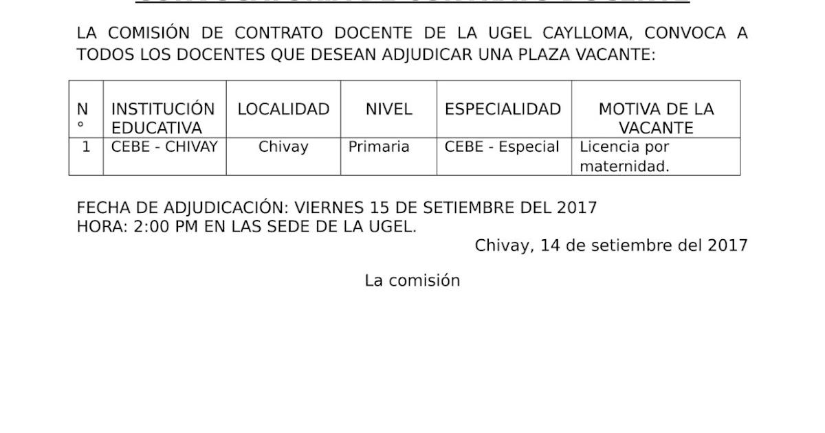 Convocatoria docente cebe especial de chivay ugel caylloma for Convocatoria docente