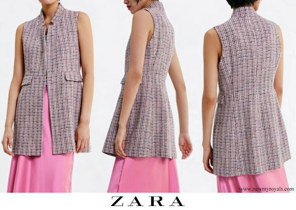 Queen Letizia wore ZARA Inverted collar tweed vest