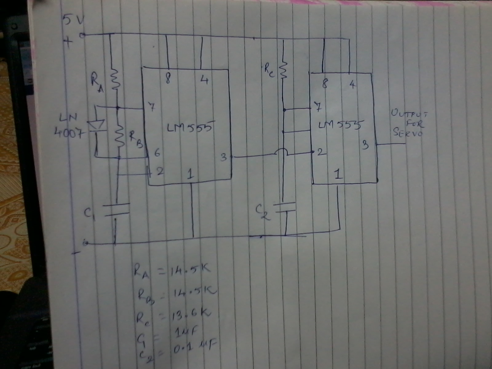 but we got continuous rotation of motor i e from 0 degree to 180 degree thus the motor did not rotate as we desired the below shown is our 555 servo  [ 1600 x 1200 Pixel ]