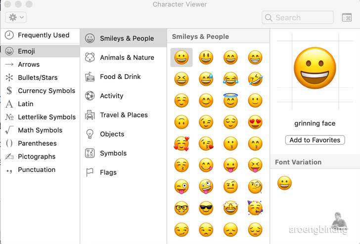 cara insert emoji di mac
