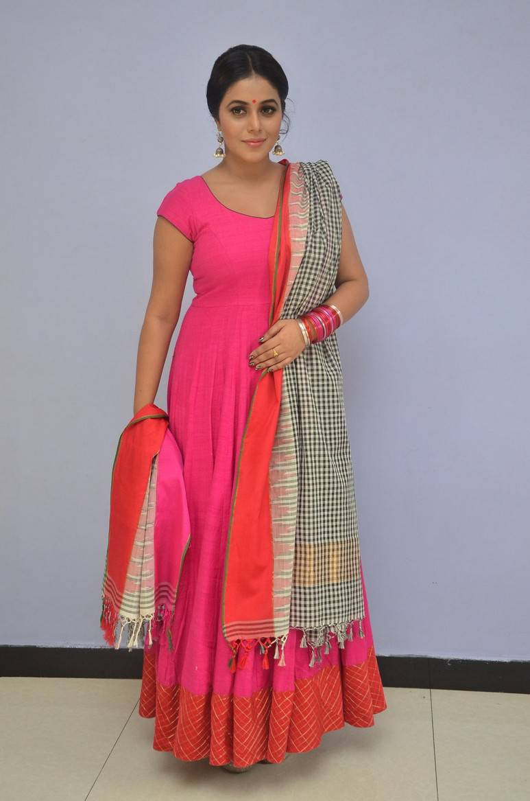 South Indian Actress Poorna Hot Photos In Pink Dress At Movie Teaser Launch