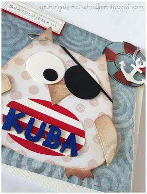 kartka handmade sowa pirat marine galeria schaffar