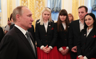 Russian President Vladimir Putin and members of WorldSkills-Russia national team.