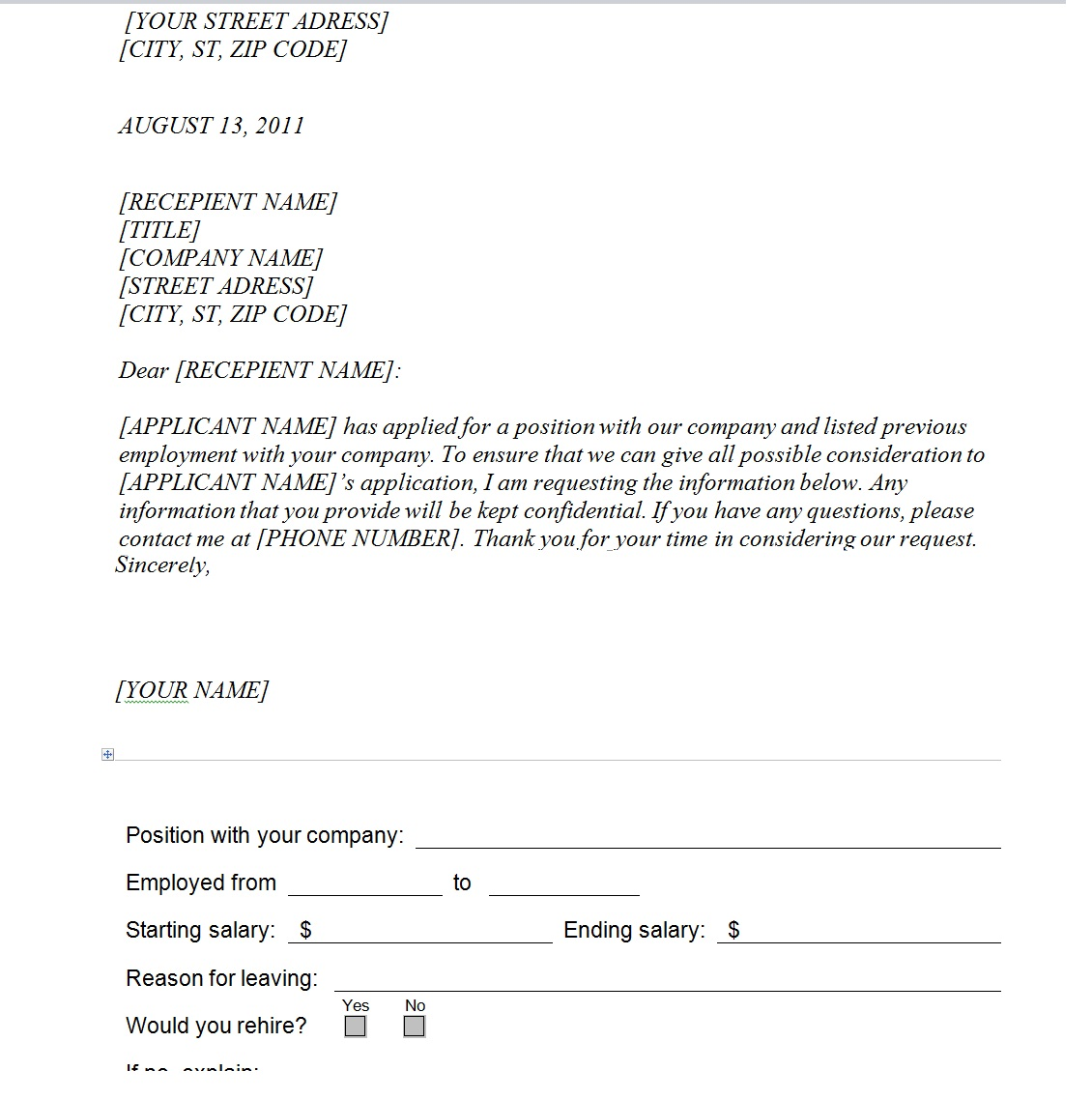 Previous Employment Verification Request Template Sample
