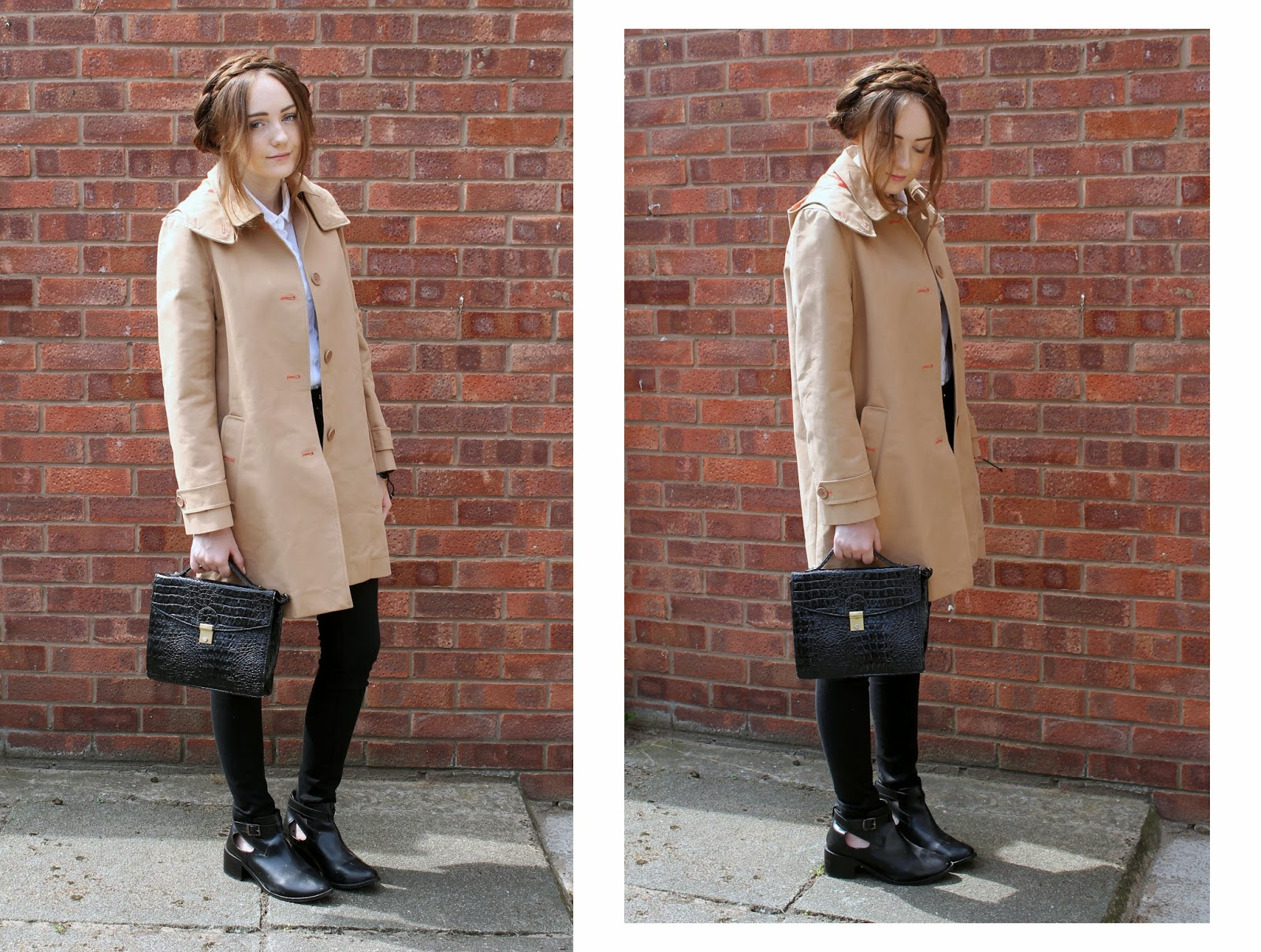 great plains camel coloured mac trench coat with detachable hood, white scalloped topshop shirt with river island black lana jeans, bank cut out ankle boots and primark satchel