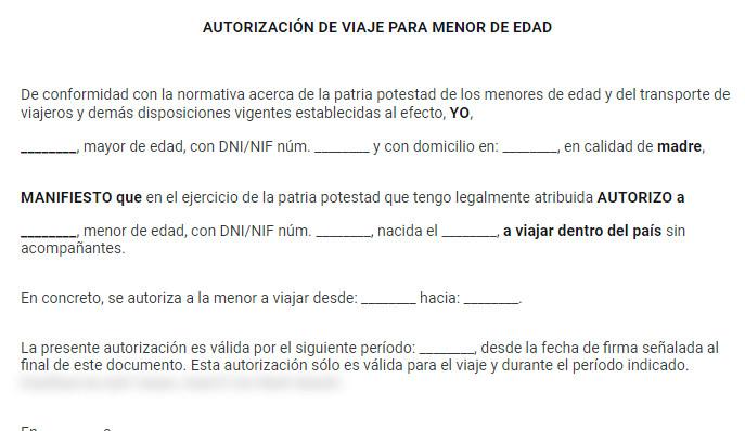 para cartas de permiso para viajar para menores hay diferentes formatos otro ejemplo