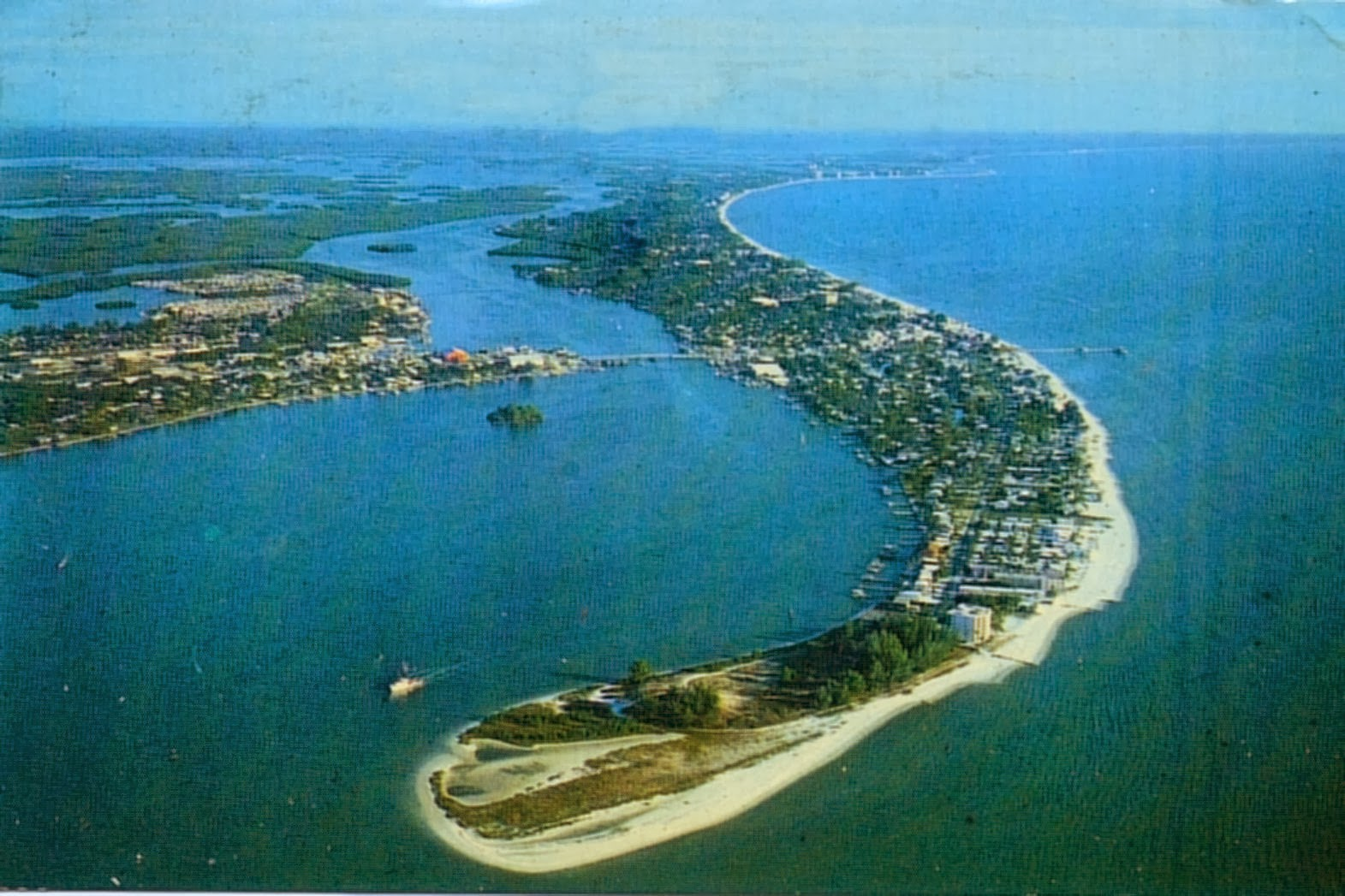 Aerial View Of Serpentine Shaped Fort Myers Beach Circa 1979
