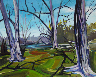Acrylic painting of three trees at amherst state park.