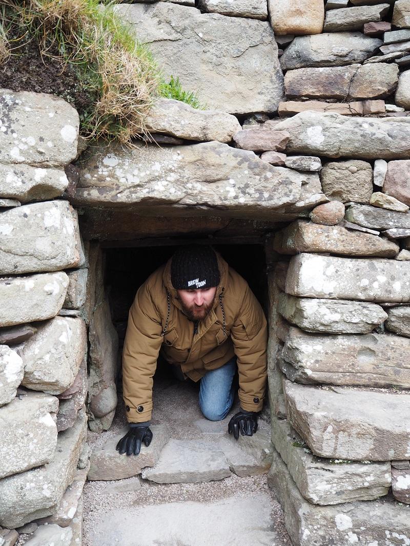 Crawling through walls at Clickimin Broch