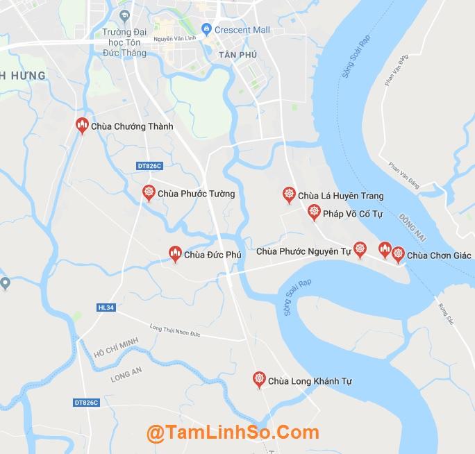 Nhà Bè nằm ở phía Nam của Sài Gòn, có khá ít chùa trong khu vực
