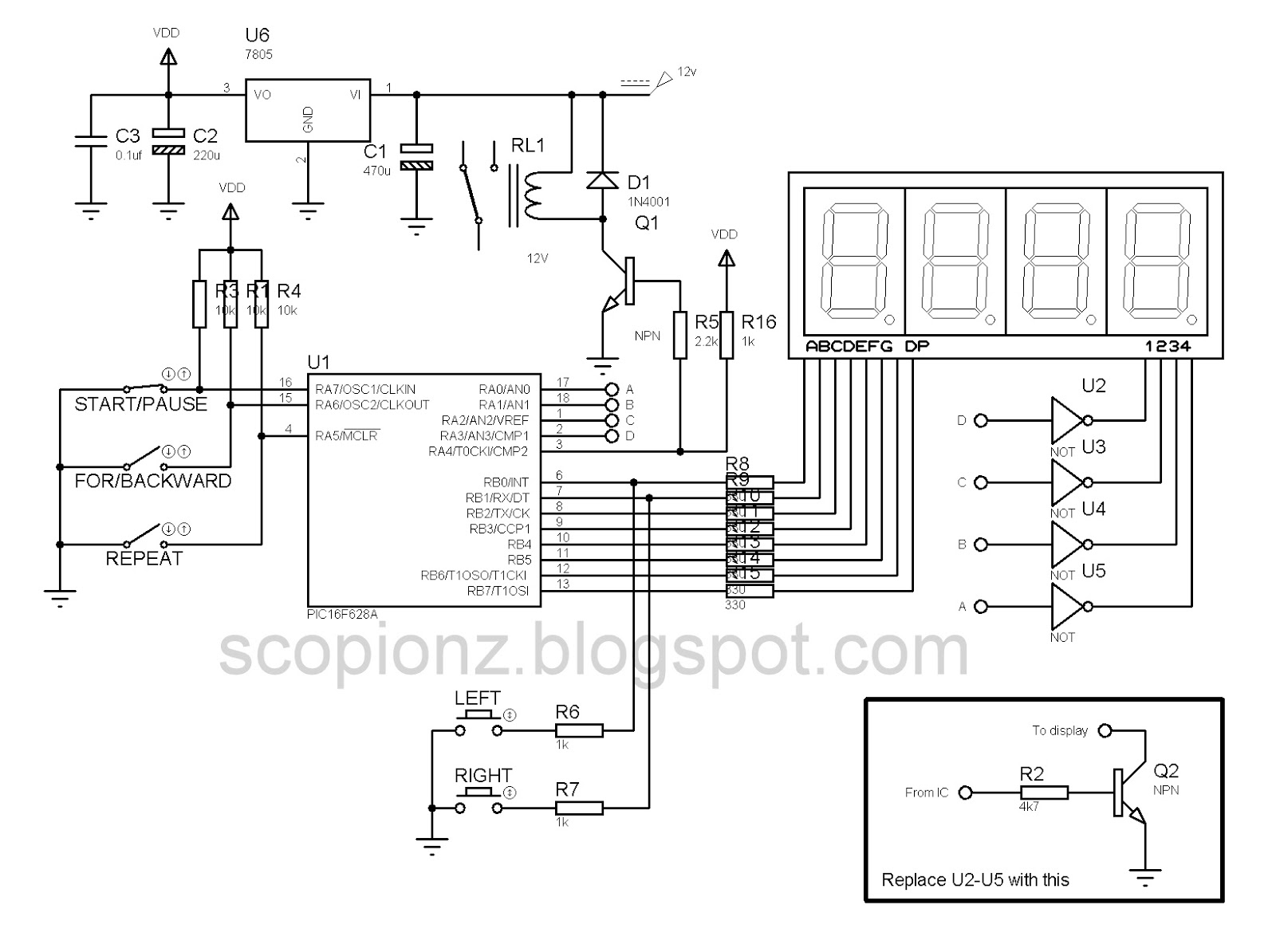 Programmable Digital SSD Timer Circuit - PIC16F628A. Programmable Digital Timer  Schematic