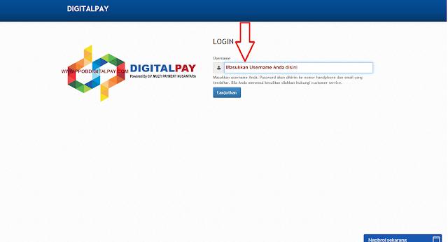 Pada Web Transaksi PPOB Digital Pay Isikan Username Anda
