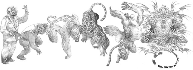 The stages of a transformation for a jaguar Nahual