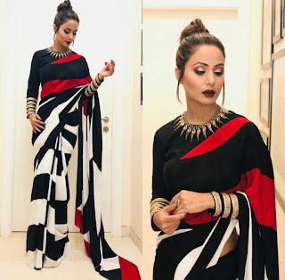 हिना खान मोनोक्रोम स्ट्राइप ब्लैक एंड व्हाइट सरी, Hina Khan  in stripe monochrome saree