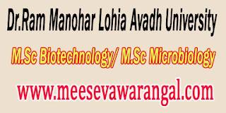 Dr.Ram Manohar Lohia Avadh University M.Sc Biotechnology/ M.Sc Microbiology 4th Sem 2016 Exam Results