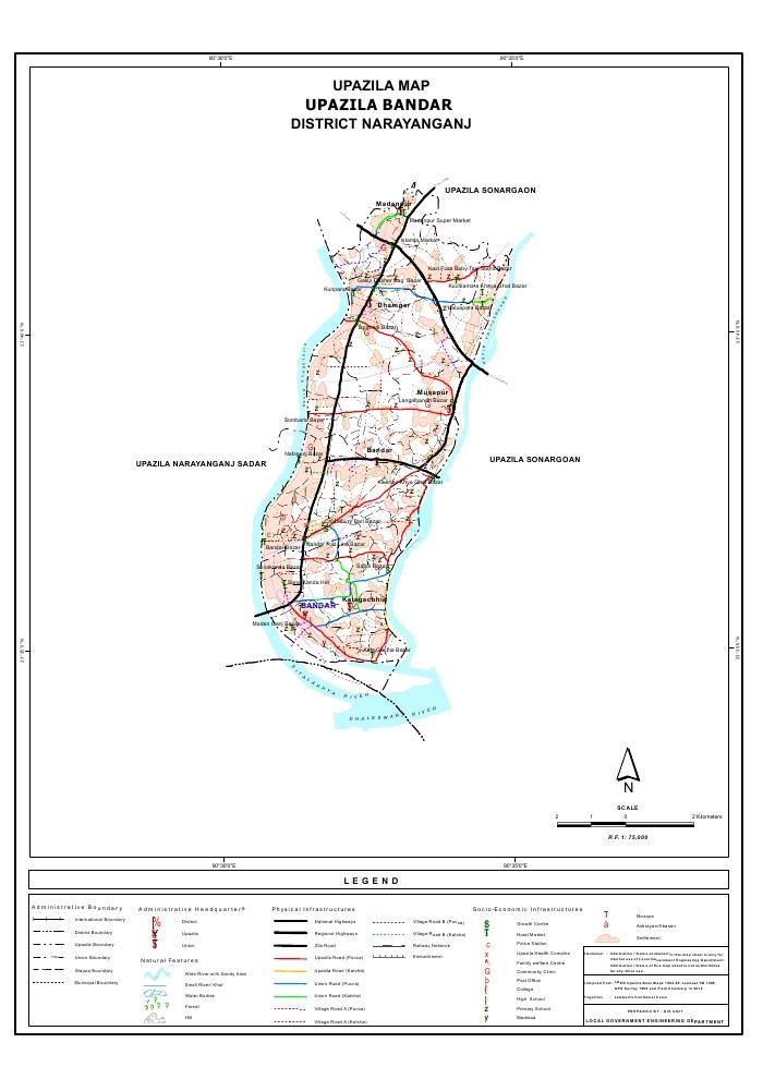 Bandar Upazila Map Narayanganj District Bangladesh